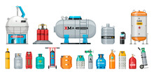 Set Of Vector Gas Cylinder. Cy...