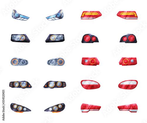 Fototapeta Automotive Car Headlights Set, Front and Rare Led Headlamps Flat Style Vector Illustration on White Background obraz na płótnie