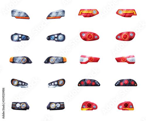 Fototapeta Modern Auto Headlights Set, Front and Rare Led Headlamps Flat Style Vector Illustration on White Background obraz na płótnie