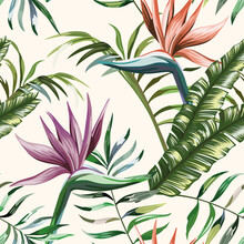 Beautiful Multi Colored Exotic Tropical Flowers Strelitzia And Green Palm, Banana, Fern Leaves Seamless Vector Pattern On White Background. Beach Summer Trendy Illustration.
