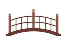 Arched Wooden Bridge, Urban Infrastructure Design Element, Flat Style Vector Illustration On White Background