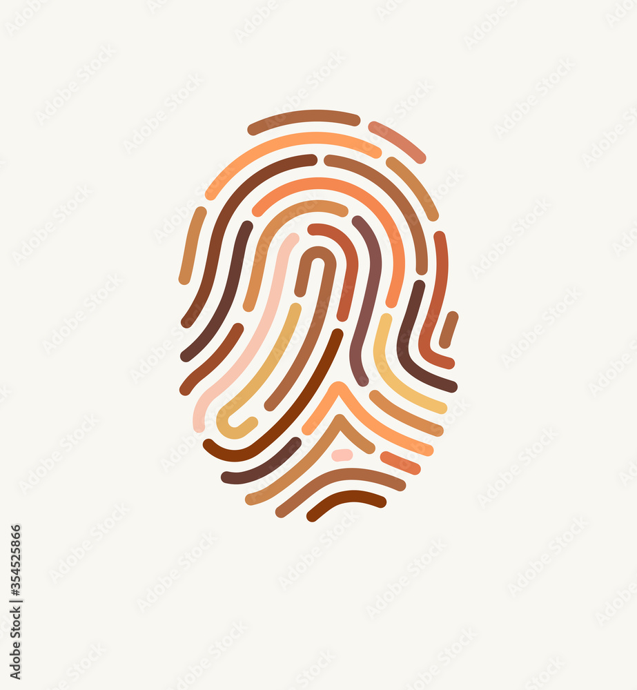 Fototapeta Fingerprint of many different skin tones. Illustration for diversity and unity. The concept of one human race. Poster design against racism.