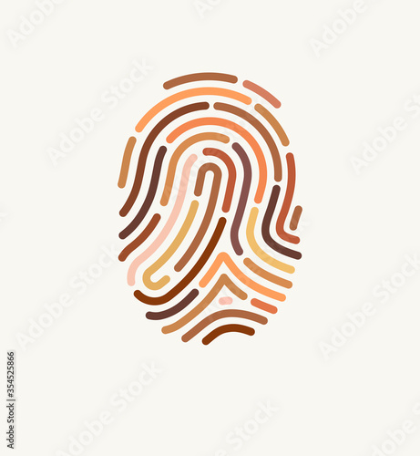 Fototapeta Fingerprint of many different skin tones. Illustration for diversity and unity. The concept of one human race. Poster design against racism.  obraz