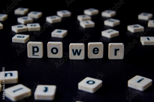 Word or phrase POWER made with  letters on the wood, great image for your design Canvas Print
