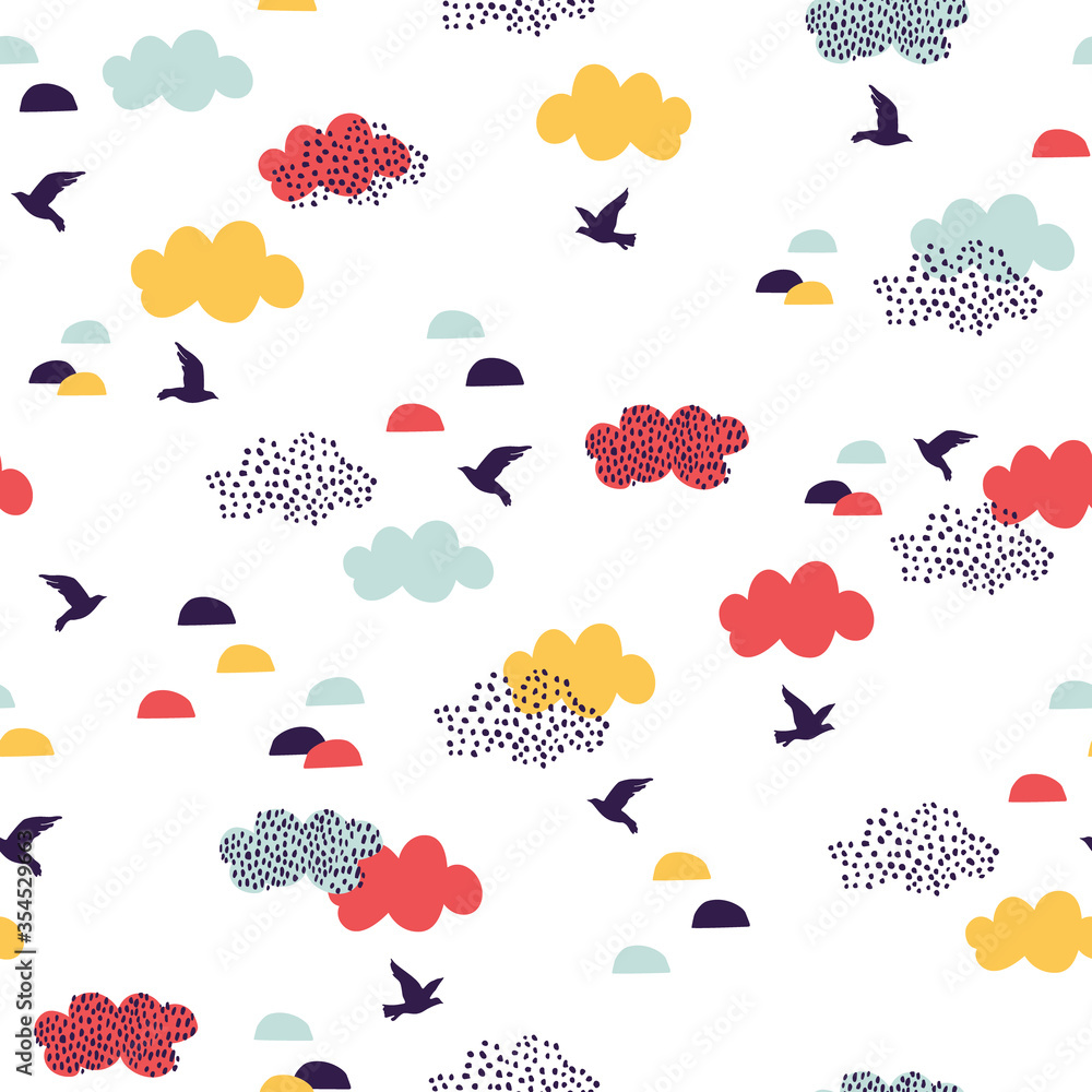 Cute cartoon flying birds and clouds. Geometric natural seamless pattern in scandinavian minimal style