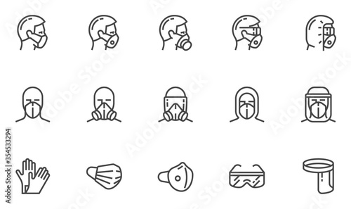 Obraz Personal Protective Equipment Vector Line Icons. PPE for Infection Control. Medical Protective Clothing, Gloves, Face Shield, Goggle, Facemask. Editable Stroke. 48x48 Pixel Perfect. - fototapety do salonu