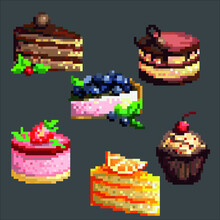 Set Of Vector Cake. Pixel Art. Cakes Strawberry, Blueberry, Orange, Cherry, Chocolate. Print For Children. Tasty Food. Cute Cakes. Stickers Or Video Games. EPS 10