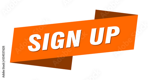 Cuadros en Lienzo sign up banner template. sign up ribbon label sign