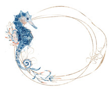 Watercolor Golden Frame With Seahorse And Floral Hand Drawn  Illustration Isolated On White Background