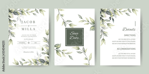 Fototapeta Wedding Invitation card template with green leaf watercolor  and branches obraz