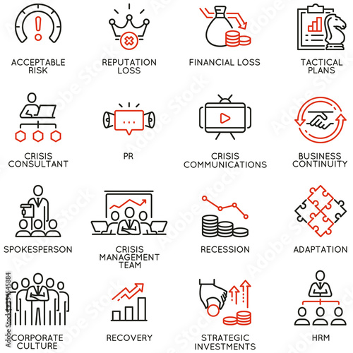 Vector Set of Linear Icons Related to Crisis Management, Recovery and Consolidation Canvas Print