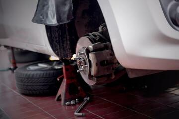Close up view of car wheel brake shoes