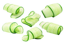 Cucumber Curls, Rolled Up Slices Or Shavings, Isolated W Clipping Paths
