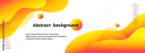 Obraz Liquid yellow abstract background. Vector long fluid banner for social media posts, presentations - fototapety do salonu