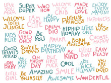 Childish Lettering Set. Many Different Phrases For Postcards. Hand Drawn Letters In Scandinavian Style In Vector. Pastel Palette. Baby Shower