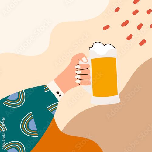 Fotografia Female hand holding glass of beer