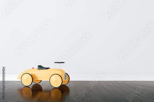 Valokuva 3d render of beautiful child room interior and wooden car toy