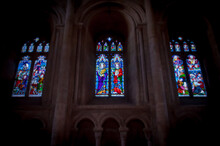 Three Stained Glass Windows In Peterborough Cathedral