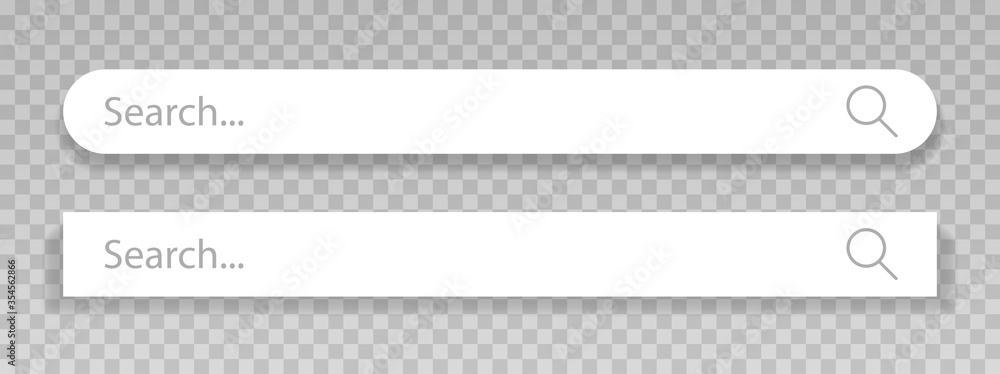 Fototapeta Set of search bar, search boxes with shadow on transparent background. Vector illustration.