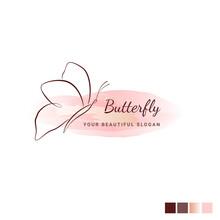 Butterfly Logo Vector. Line Ha...