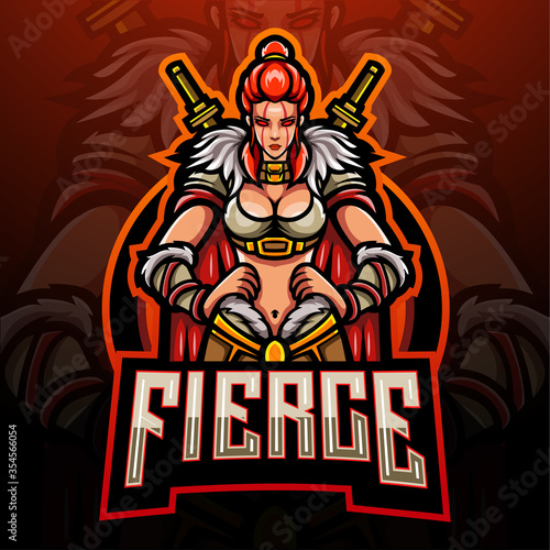Fotografia Female barbarian esport logo mascot design
