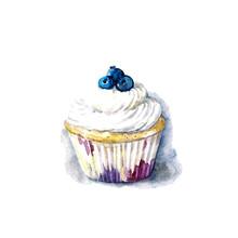 Watercolor Jummy Cupcake On Th...