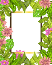 Vector Hand Drawn Stock Floral Wedding Frame With Lotus, Leaves, Monstera And Tropical Flowers On White Background. Concept For Invitation Design, Greeting Cards, Photo Frames, Albums, Social Media.