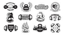Gym Retro Logos Set. Monochrom...