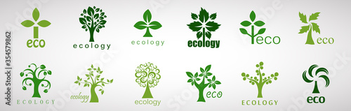 Fototapeta Collection Of Eco Tree And Organic Logo Set - Isolated On White Background - Vector. Eco And Organic Logo Useful For Tree Icon, Ecology Logo, Eco Symbol And Template Design. Ecology Tree Icons obraz