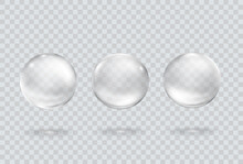 Bubble Underwater Set Isolated On Transparent Background. Vector Gas, Foam Or Oxygen Bubbles Flying In Air Or Under Water. Realistic Clear Glass Balls Template.
