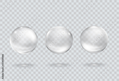 Fotografía Bubble underwater set isolated on transparent background