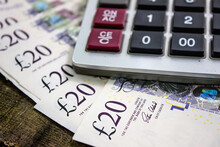 English Pounds And Calculator Close Up