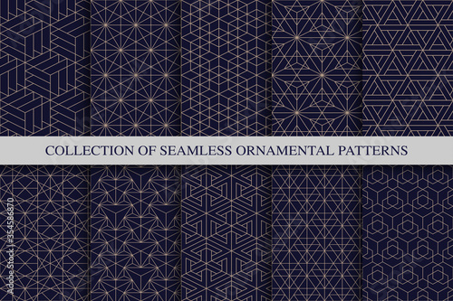 Collection of seamless geometric ornamental vector patterns. Tile oriental backgrounds. Trendy blue grid design