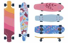Set Of Skateboard And Longboar...
