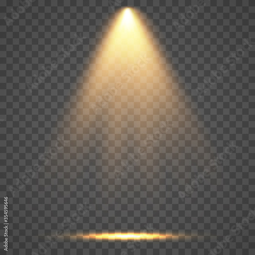 Fototapeta Stage light ray isolated on transparent background. Vector bright yellow glow scene spotlight effect. Shine vertical theater projector beam template for your creative design obraz na płótnie
