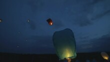 Chinese Lanterns Lifting Up In...