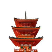 Pagoda Tower At Kiyomizu-dera Temple (Kyoto, Japan) Isolated On White Background