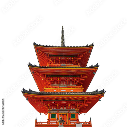 Pagoda tower at Kiyomizu-dera Temple (Kyoto, Japan) isolated on white background Billede på lærred