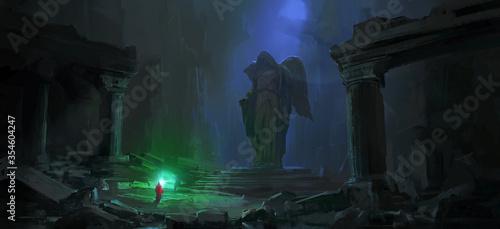Obraz na plátně Wizard in the dark dungeon, digital painting.