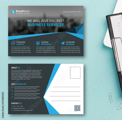 Business Agency Postcard Template Design With Grey And Blue Triangular Accents Slika na platnu