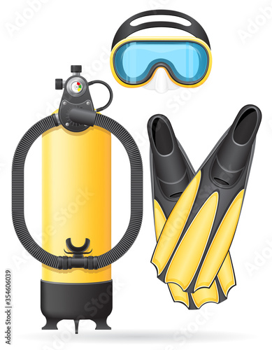 aqualung mask tube and flippers for diving vector illustration Wallpaper Mural