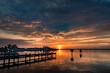 morning sunrise on the boat ramp over river