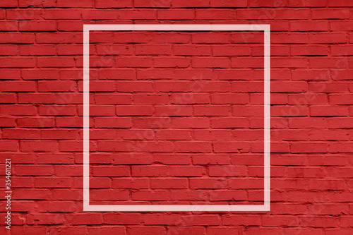 White frame on red brick wall. Mock up. - 354611221