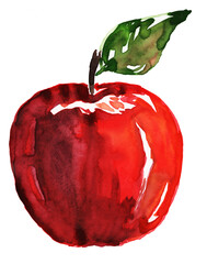 Watercolor red tasty apple with green leaf