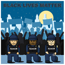 Police Is Kneeling With Protestors In The Background For Black Lives Matter Rally In America Cities Concept.
