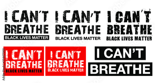 Different type of I can't breathe, black lives matter America USA protest vector collection Фотошпалери