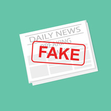 Newspaper With Fake News Stamp, Green Background