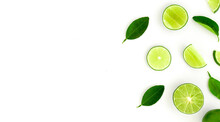 The Fresh Limes And Lime Leaves On A White Background. Limes Isolated.limes Top View.