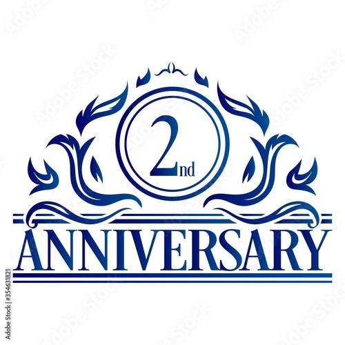 Luxury 2nd anniversary Logo illustration vector Wallpaper Mural