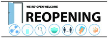 REOPENING Text And Practical Prevention Tips For The Prevention Of COVID19 Coronavirus Contamination. Service, Restaurant, Shop And Cafe Re-opening. Template: Door Sign, Banner, Blog.
